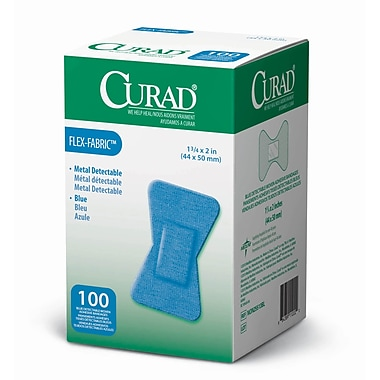 Medline® Curad® Flex-Fabric™ Blue Food Service Adhesive Bandage, 1 3/4