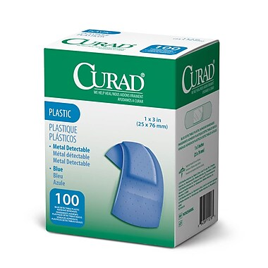Medline® Curad® Plastic Blue Food Service Adhesive Bandage, 1