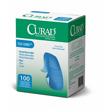 Medline® Curad® Flex-Fabric™ Blue Food Service Adhesive Bandage, 3/4in. x 3in., 1200/Pack