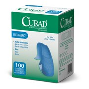 "Medline® Curad® Flex-Fabric™ Blue Food Service Adhesive Bandage, 1"" x 3"", 1200/Pack"
