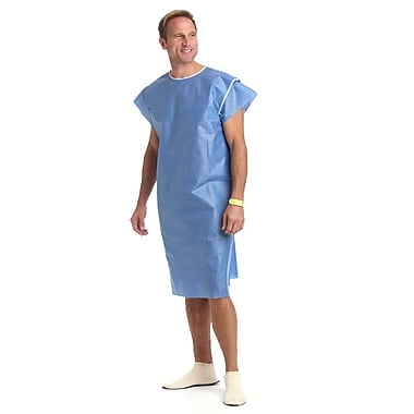 Medline® Disposable Multi Layer Patient Gowns, Regular/Large, Blue