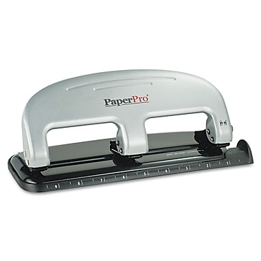 PaperPro® 40-Sheet Traditional Three-Hole Manual Punch, Black/Silver