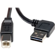 Tripp Lite 3' Universal Reversible USB 2.0 Right/Left Angle A Male to B Male USB Cable, Black