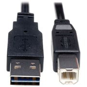Tripp Lite 10' Universal Reversible USB 2.0 A Male to B Male USB Cable, Black