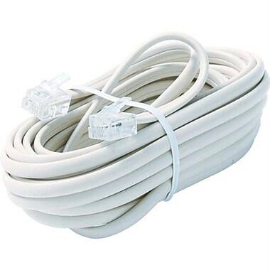 STEREN® 15' 6-Wire Premium Telephone Line Cable, White