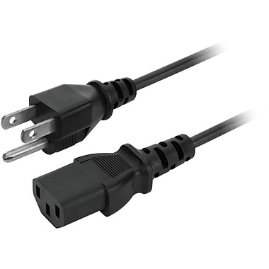 V7® 6' AC NEMA 5-15P to IEC C13 Computer Power Cable, Black