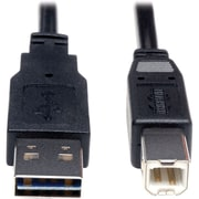 Tripp Lite 3' Universal Reversible USB 2.0 A/B Male USB Cable, Black