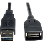 Tripp Lite 1' Universal Reversible USB 2.0 A Male to A Female Extension Cable, Black