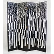 Wayborn Forest 4 Panel Room Divider in Distressed Black/Silver
