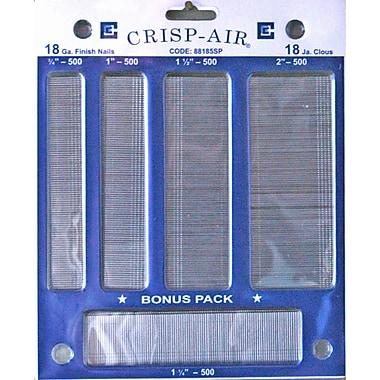 Crisp-Air Brad Nails, Variety Pack, 5 Sizes, 18 Gauge, 2,500/Pack