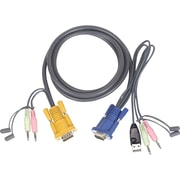 Iogear® 3' Micro-Lite™ Bonded All-In-One USB KVM Cable, Gray