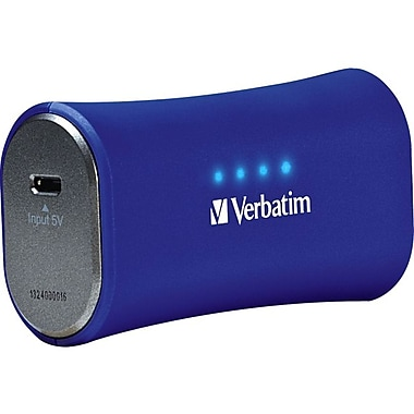 Verbatim® 2200mAh Li-Ion-Portable Battery Power Adapter, Cobalt Blue