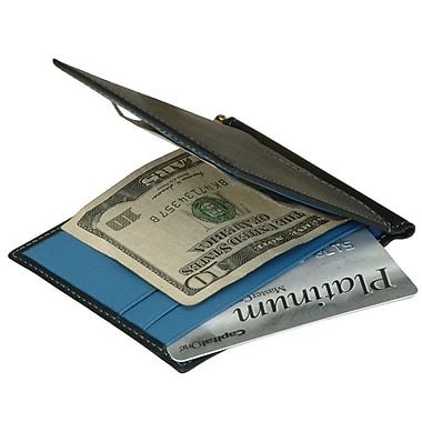 Royce Leather Men's Cash Clip Wallet with Outside Pocket, Royce Blue