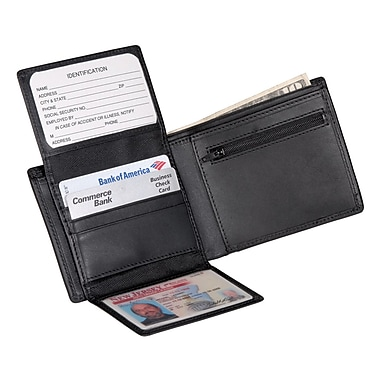 Royce Leather Commuter Wallet , Black, Debossing, Full Name