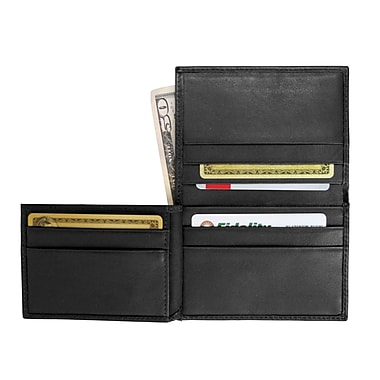 Royce Leather Men's Flip Credit Card Wallet, Black, Silver Foil Stamping, 3 Initials
