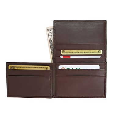 Royce Leather Men's Flip Credit Card Wallet, Coco, Silver Foil Stamping, Full Name