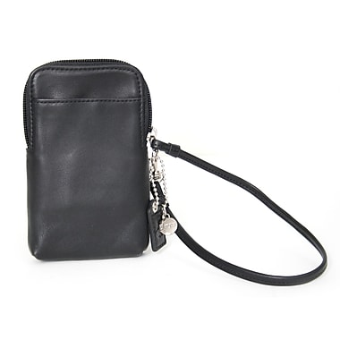 Royce Leather Chic iPhone Camera Wristlet, Black, Silver Foil Stamping, Full Name