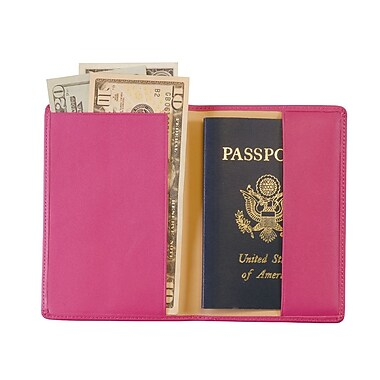 Royce Leather Foil Stamped Passport Jacket, Wildberry, Gold Foil Stamping, 3 Initials