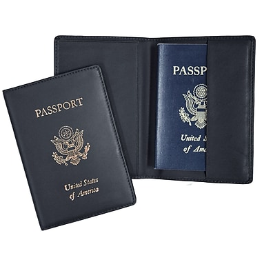 Royce Leather Foil Stamped Passport Jacket, Blue, Silver Foil Stamping, Full Name