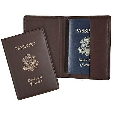 Royce Leather Foil Stamped Passport Jacket, Coco, Silver Foil Stamping, Full Name
