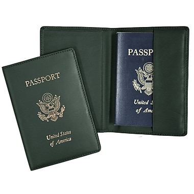 Royce Leather Foil Stamped Passport Jacket, Green, Silver Foil Stamping, 3 Initials