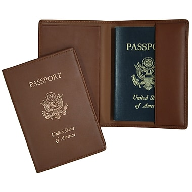 Royce Leather Foil Stamped Passport Jacket, Tan, Gold Foil Stamping, Full Name
