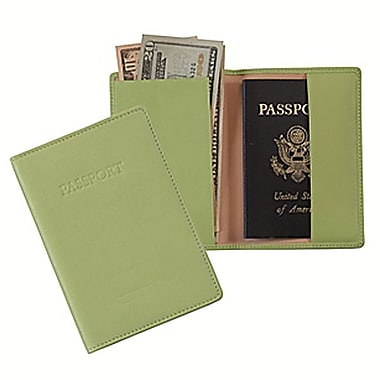 Royce Leather – Porte-passeport, vert lime (203-KLG-5), estampage or, nom complet