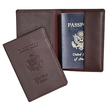 Royce Leather Debossed Passport Jacket, Burgundy, Gold Foil Stamping, Full Name