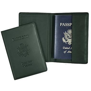 Royce Leather – Étui pour passeport gravé, vert, estampage, 3 initiales