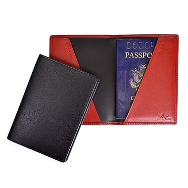 Royce Leather Saffiano Cowhide Passport Jacket, Red, Silver Foil Stamping, Full Name