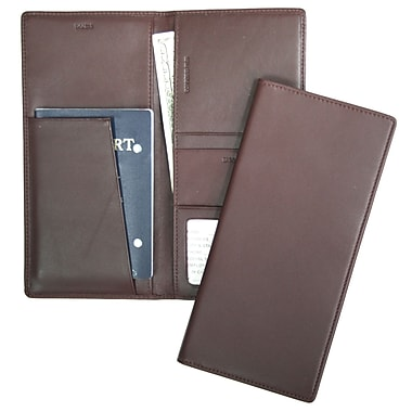 Royce Leather Full Grain Nappa Cowhide Passport Ticket Holder, Burgundy, Silver Foil Stamping, Full Name