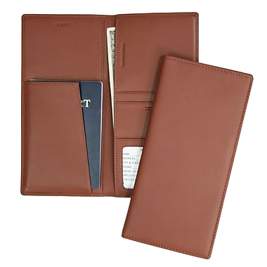 Royce Leather Full Grain Nappa Cowhide Passport Ticket Holder, Tan, Silver Foil Stamping, 3 Initials