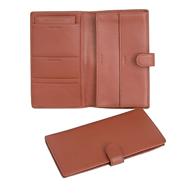 Royce Leather – Étui pour passeport et documents de voyage, havane, estampage or, 3 initiales