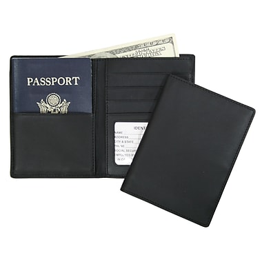 Royce Leather – Portefeuille pour passeport et billets, noir, estampage or, nom complet