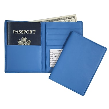 Royce Leather – Portefeuille pour passeport et billets, bleu Royce, estampage or, nom complet