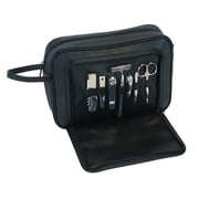 Royce Leather Toiletry Combo Grooming Set Black