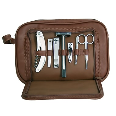 Royce Leather Toiletry Grooming Kit with Stainless Steel Implements, Coco, Silver Foil Stamping, Full Name