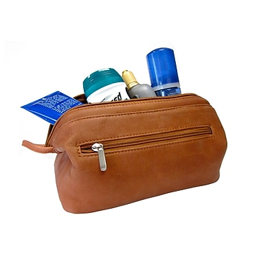 Royce Leather – Trousse de toilette Vaquetta colombien, havane, estampage doré à chaud, 3 initiales