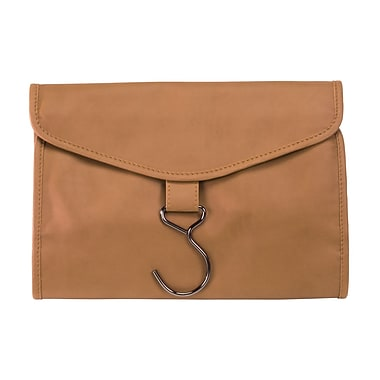 Royce Leather Hanging Toiletry Bag, Tan (264-TAN-11), Silver Foil Stamping, 3 Initials