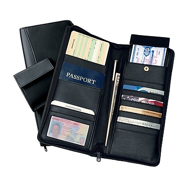 Royce Leather – Étui expansible pour documents de voyage, noir, estampage argenté, nom complet