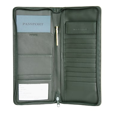 Royce Leather – Étui expansible pour documents de voyage, vert, estampage or, 3 initiales
