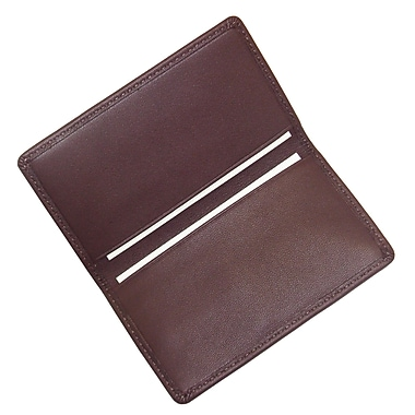 Royce Leather Classic Business Card Case, Burgundy, Silver Foil Stamping, Full Name