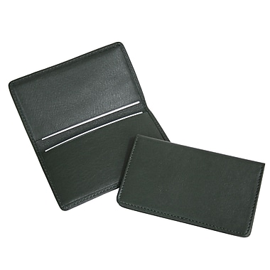 Royce Leather Classic Business Card Case, Green, Silver Foil Stamping, Full Name