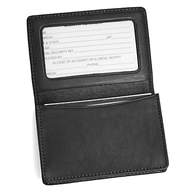 Royce Leather Business Card Holder, Black, Silver Foil Stamping, Full Name