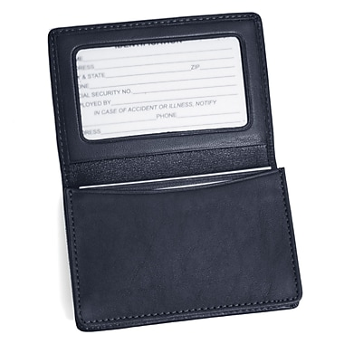 Royce Leather Business Card Holder, Blue, Silver Foil Stamping, 3 Initials