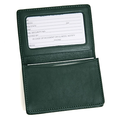Royce Leather Business Card Holder, Green, Silver Foil Stamping, Full Name