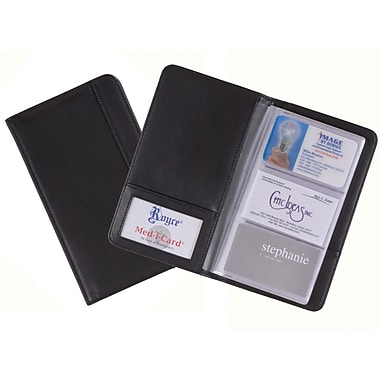 Royce Leather – Étui pour cartes professionnelles, 3 cartes par pages, noir, estampage, 3 initiales