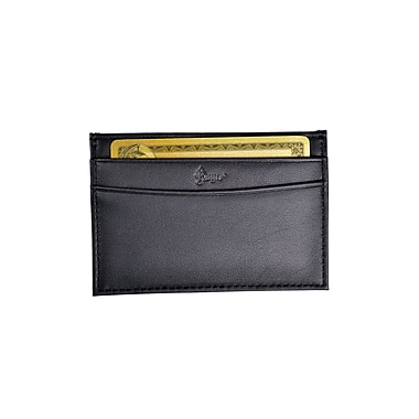 Royce Leather Nappa Prima Slim Card Case, Black, Silver Foil Stamping, 3 Initials