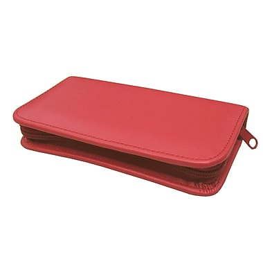 Royce Leather – Trousse de toilette de voyage, rouge, estampage doré, nom complet