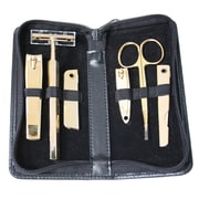 Royce Leather GOLD PLATED MANICURE SET Black